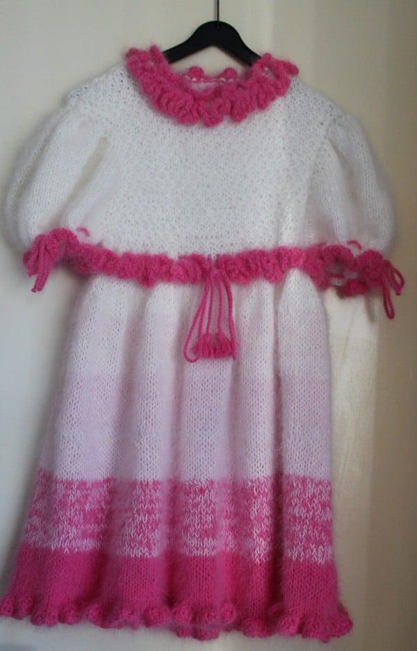 kleid angora weiß-rosa-pink